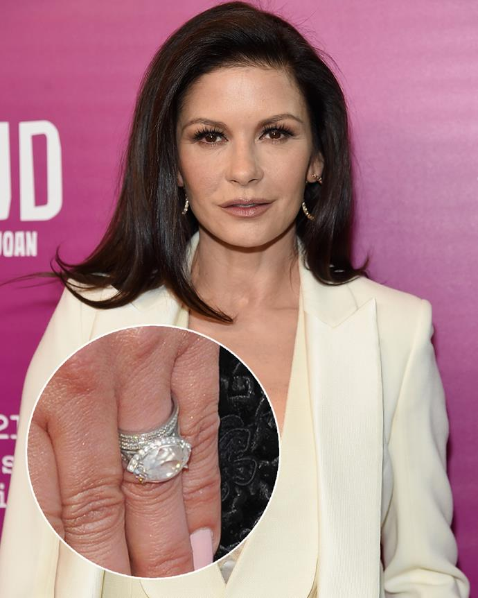 **The wearer:** Catherine Zeta-Jones<br><br> **The ring:** An antique 1920s 10-carat side-set marquise diamond, surrounded by 28 diamonds.<br><br> **The pricetag:** $1.3 million AUD