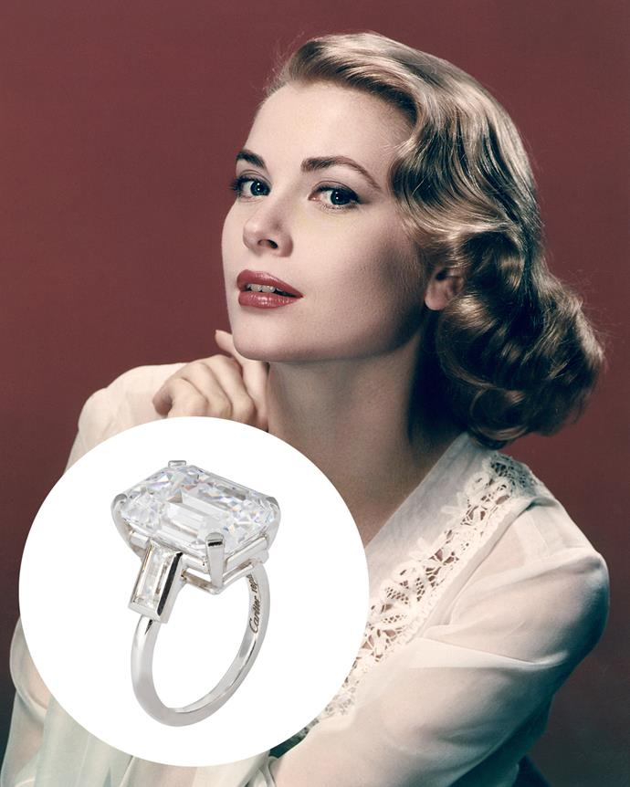 **The wearer:** Grace Kelly<br><br> **The ring:** A 10-carat emerald-cut diamond, flanked by two emerald-cut baguettes, set in platinum.<br><br> **The pricetag:** $5.5 million AUD