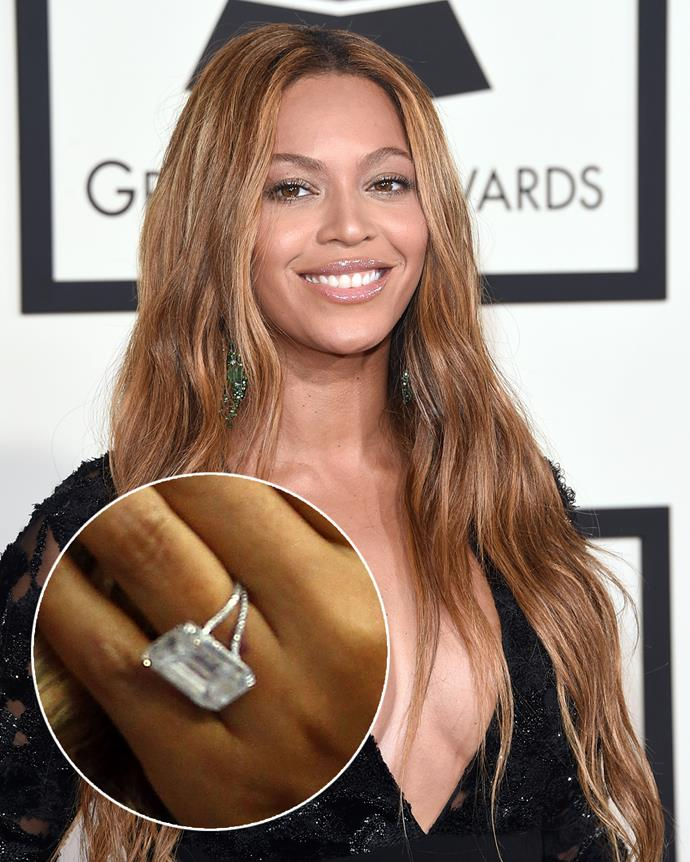 **The wearer:** Beyoncé<br><br> **The ring:** A 24-carat emerald-cut diamond set on two platinum bands.<br><br> **The pricetag:** $6.9 million AUD