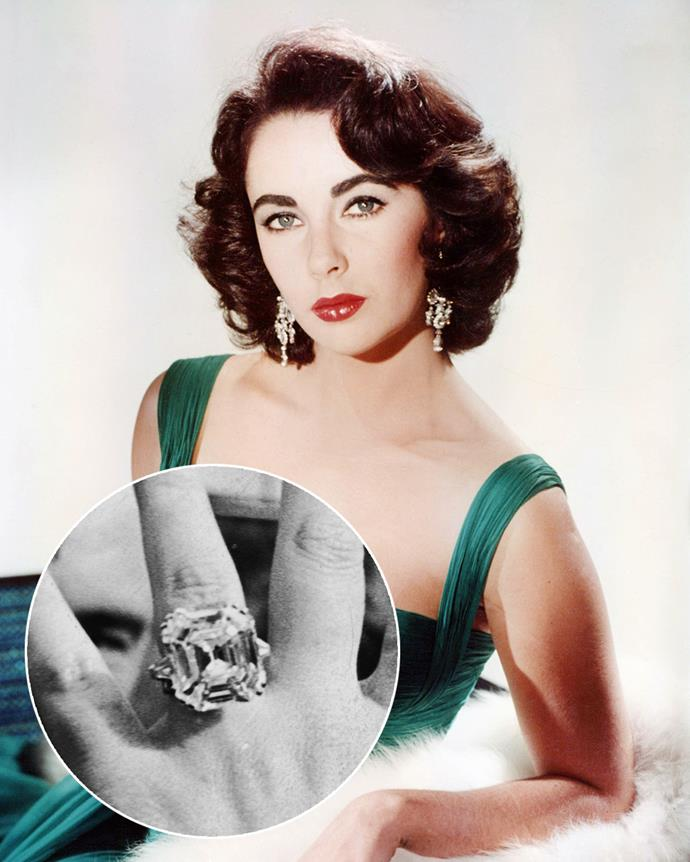 **The wearer:** Elizabeth Taylor<br><br> **The ring:** A 33-carat cushion-cut diamond, set in platinum.<br><br> **The pricetag:** $12.2 million AUD