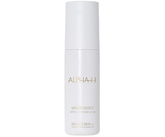 "**Cult exfoliator: Alpha-H Liquid Gold** <br><br> This exfoliating solution put [glycolic acid](https://www.elle.com.au/beauty/what-is-glycolic-acid-13448|target=""_blank"") on the map before we even knew it existed. Dubbed the 'overnight facial' due to the glow you're bound to experience the next morning, it works by breaking down dead skin cells to reveal fresh skin that's seriously smooth and luminous. All kinds of cured skin ailments have been attributed to this chemical concoction, from cystic acne to early signs of ageing, pigmentation and scarring. <br><br> *$60 at [Sephora](https://www.sephora.com.au/products/alpha-h-liquid-gold/v/100ml