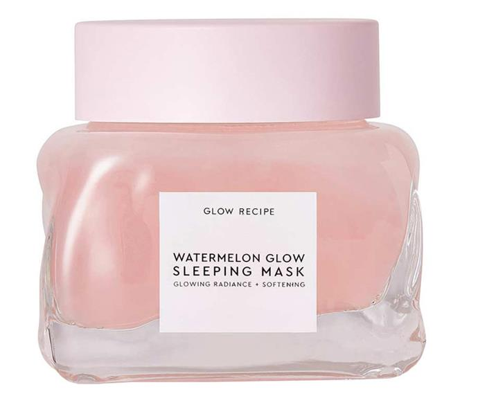 "**Cult mask: Glow Recipe Watermelon Glow Sleeping Mask** <br><br> If we could only use one K-Beauty product for the rest of our lives, this would be it. This goopy, gel-textured mask (to be honest, it kind of reminds us of snot) is a soothing, glow-enhancing hero. Smelling just like crisp, fresh watermelon (no sickly sweetness here), it coats the skin in a lightweight but powerful layer of hydration, that also works to smooth texture and brighten the complexion. It was, surprisingly, love at first swipe. <br><br> *$72 at [MECCA](https://www.mecca.com.au/glow-recipe/watermelon-glow-sleeping-mask/V-038857.html|target=""_blank""