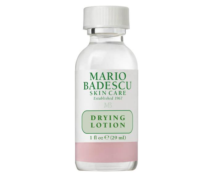 "**Cult spot treatment: Mario Badescu Drying Lotion** <br><br> You'll never see people stand by a pimple treatment like those who believe in (and have seen) the power of Mario Badescu's Drying Lotion. To be used on the blemish itself only, the salicylic acid solution works to dry up pimples of all kinds, reducing redness and calming inflammation overnight. Used in emergency situations only, the small bottle will last you a long while. <br><br> *$27 at [MECCA](https://www.mecca.com.au/mario-badescu/drying-lotion/I-004684.html|target=""_blank""