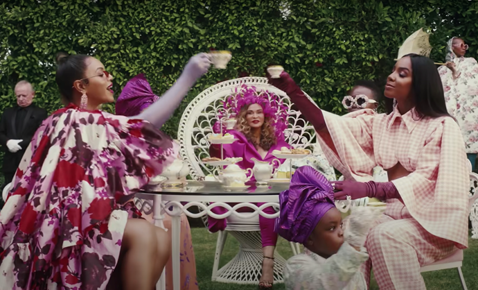 Beyonce (left), Tina Knowles-Lawson (centre) and Kelly Rowland (right) in *Black Is King*. *Image: Disney+*