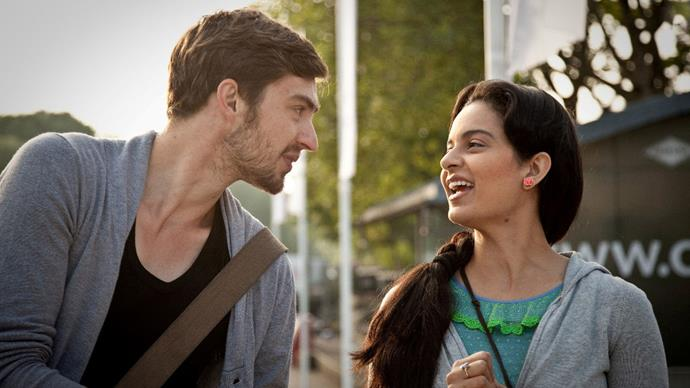 ***Queen* (2013)** <br><br> **Country/Language:** India; Europe/Hindi; English <br><br> **Where to watch:** Netflix <br><br> After her fiancé leaves her right before their wedding, Rani decides to go on their honeymoon alone. We won't give too much away, but her journey of self-discovery is funny and heartwarming, a new *Eat, Pray, Love*, if you will.