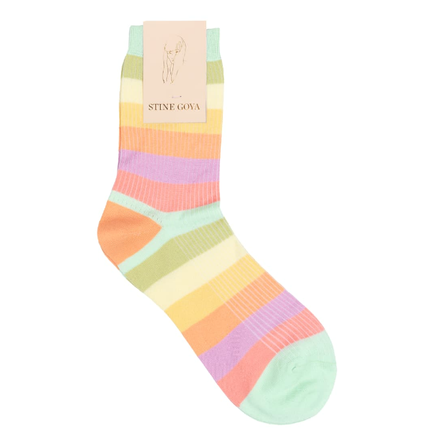 "Iggy Rainbow Socks, $43.49 by Stine Goya at [Trouva](https://www.trouva.com/products/stine-goya-iggy-socks-rainbow?currency=aud&gclid=CjwKCAjwsan5BRAOEiwALzomX2_fIfE_tymV-IxeYc7H9KJHvBv8GXJHMhDT2DWLLEUCg7qONfooXhoCEI0QAvD_BwE|target=""_blank""