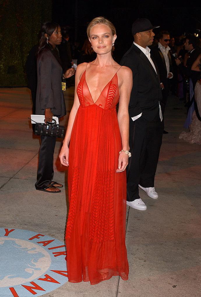 **Kate Bosworth in Calvin Klein at the 2006 Vanity Fair Oscar Party**<br><br>  An icon of the era, Kate Bosworth's semi-sheer Calvin Klein was red-hot then and red-hot now.