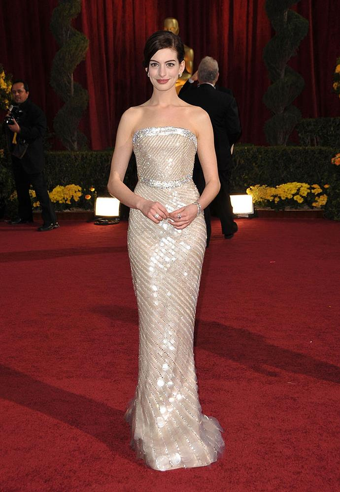 **Anne Hathaway in Armani Privé at the 2009 Academy Awards**<br><br>  An ethereal look that would hold up in any decade, Anne Hathaway's Armani Privé gown at the 2009 Academy Awards is worthy of much more recognition.