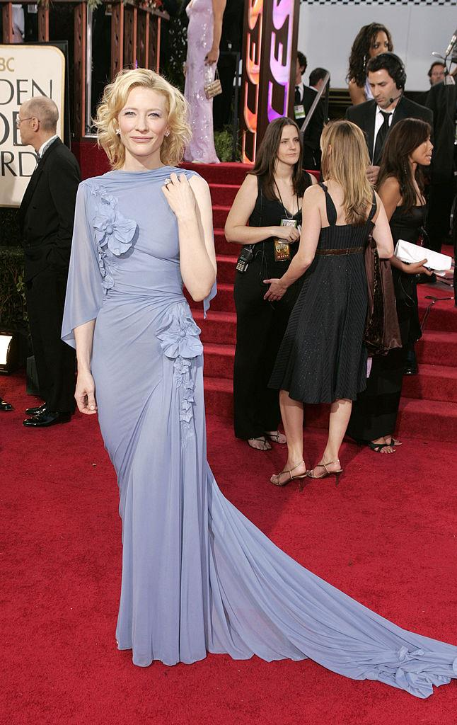 **Cate Blanchett in Jean Paul Gaultier at the 2005 Golden Globes**<br><br>  A true icon of screen and stage, Cate Blanchett is light years ahead of us all when it comes to style, and this lavender Jean Paul Gaultier at the 2005 Golden Globes deserves its own award.