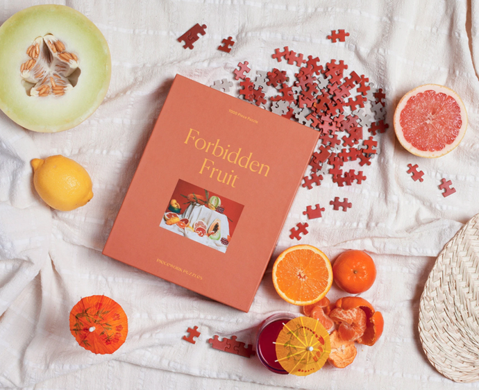 """Forbidden Fruit Puzzle, $50 AUD Approx. by [Piecework](https://pieceworkpuzzles.com/products/forbidden-fruit