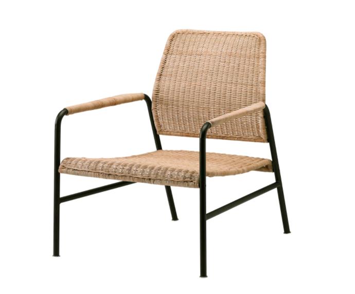 "Ulriksberg Chair, $179 by [IKEA](https://www.ikea.com/au/en/p/ulriksberg-armchair-rattan-anthracite-20442969/|target=""_blank""|rel=""nofollow"")."