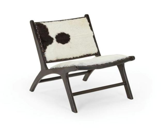 "Tobago Armchair in Hide, $499 by [Lounge Lovers](https://www.loungelovers.com.au/tobago-armchair-leather-black-white-hide?gclid=Cj0KCQjwvb75BRD1ARIsAP6LcqthrjzvwerWIvgQes_Xv-u4SNP6BLfgWYEGFVo_0VuUlYTU61NEYawaAhr8EALw_wcB|target=""_blank""|rel=""nofollow"")."