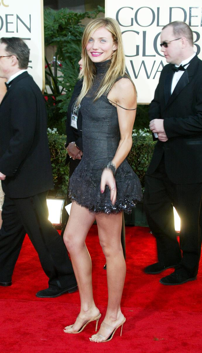 """**Cameron Diaz wearing Chanel Haute Couture at the 2003 Golden Globes**<br><br>  The perfect mix of 'punk couture' meets 'California cool', Cameron Diaz's turn at the 2003 Golden Globes has to be one of the most underrated red carpet looks of the decade. Fun fact? Diaz [did](https://www.instyle.com/fashion/cameron-diaz-golden-globes-2003-chanel-dress