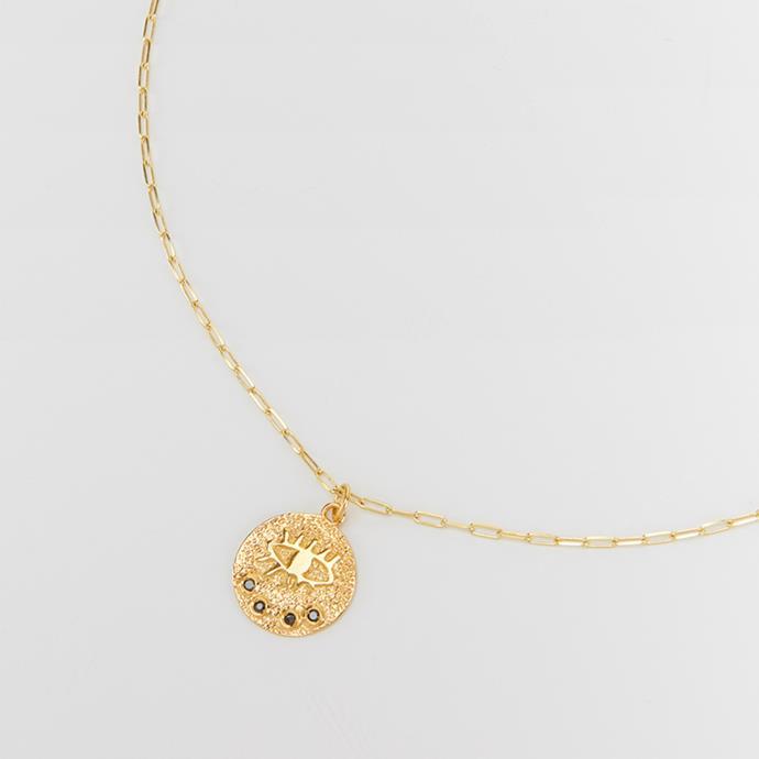 "'Kressida Medallion Necklace' by Hermina Athens, $195 at [My Chameleon](https://www.mychameleon.com.au/designer/hermina-athens/kressida-medallion-necklace-gold-hermina-athens|target=""_blank""|rel=""nofollow"")."