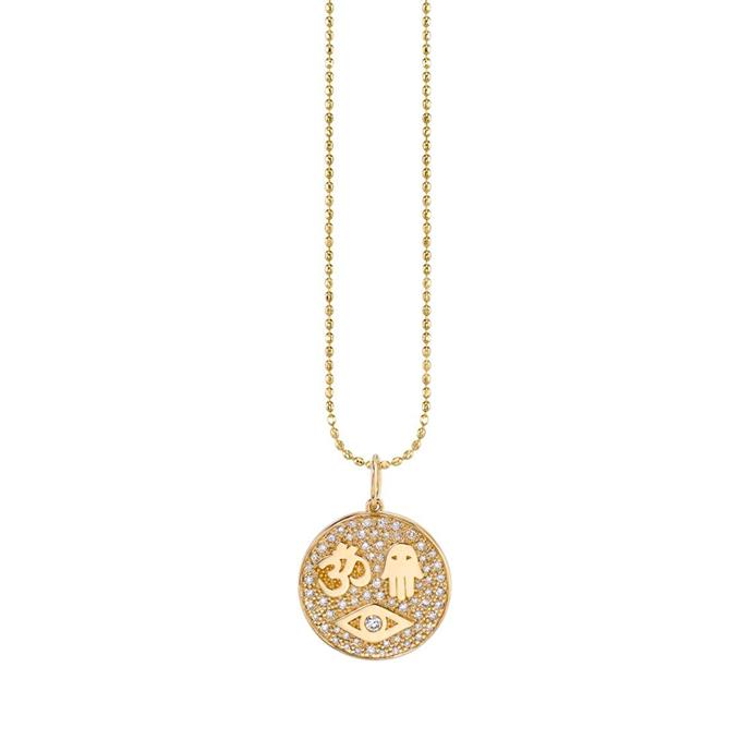 "'Gold & Pavé Diamond Protection Tableau Medallion Necklace', $1705 at [Sydney Evan](https://www.sydneyevan.com/jewelry/necklaces/gold-pave-diamond-protection-tableau-medallion-necklace|target=""_blank""|rel=""nofollow"")."