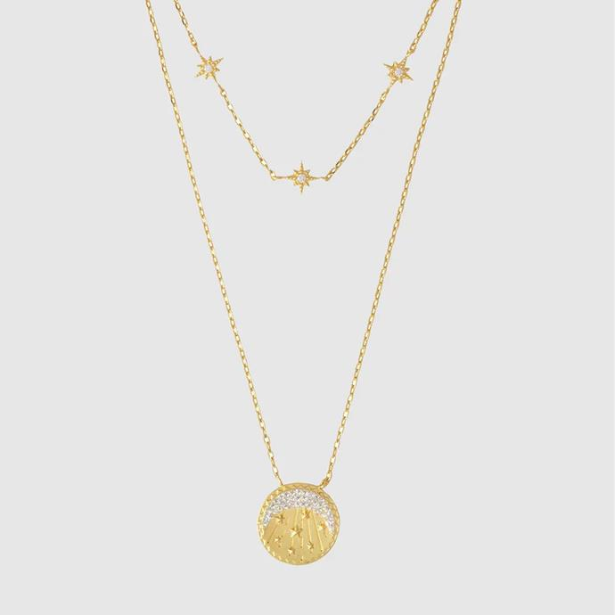 """'Be the Light Gold Necklace' by Wanderlust + Co, $98 at [THE ICONIC](https://www.theiconic.com.au/be-the-light-gold-necklace-986247.html