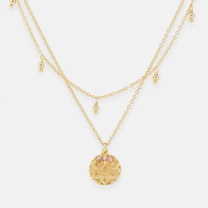 """'Eternal Harmony Gold Pendant Necklace' by By Charlotte, $189 at [The Iconic](https://www.theiconic.com.au/eternal-harmony-gold-pendant-necklace-633980.html