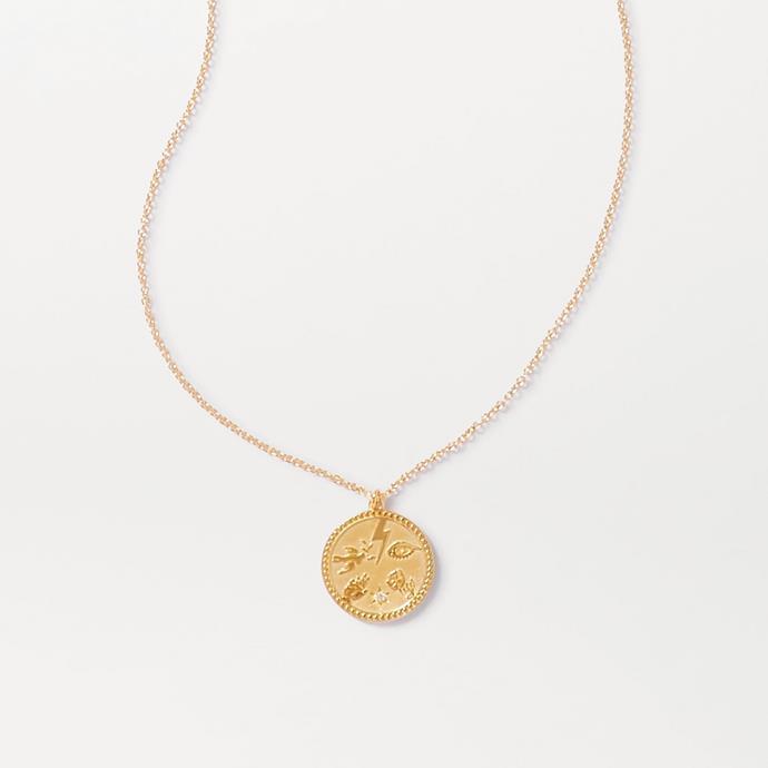 "'Talisman Gold-Plated Diamond Necklace' by Meadow Lark, $393.96 at [NET-A-PORTER](https://www.net-a-porter.com/en-au/shop/product/meadowlark/talisman-gold-plated-diamond-necklace/1242160|target=""_blank""|rel=""nofollow"")."