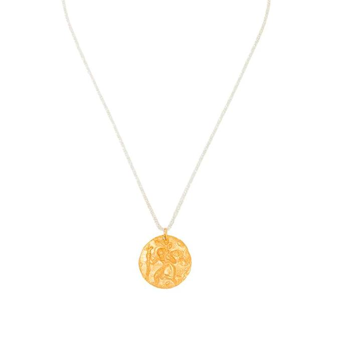 """'24kt Gold-Plated St. Christopher Chapter III Necklace' by Alighieri, $400 at [FARFETCH](https://www.farfetch.com/au/shopping/women/alighieri-24kt-gold-plated-st-christopher-chapter-iii-necklace-item-14689111.aspx?storeid=9359