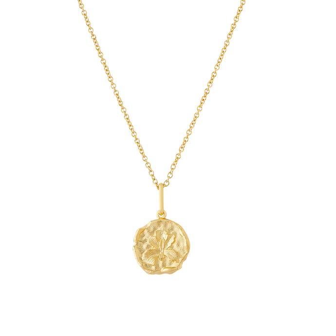 "'Iris Medallion', $150 at [Mejuri](https://mejuri.com/shop/products/iris-medallion|target=""_blank""|rel=""nofollow"")."