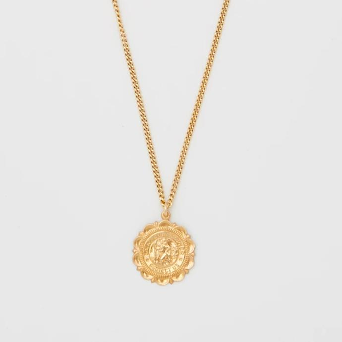 "'Saint Christopher Crest Necklace', $505 at [Bagatiba](https://www.bagatiba.com/collections/necklaces/products/saint-christopher-crest-necklace|target=""_blank""|rel=""nofollow"")."