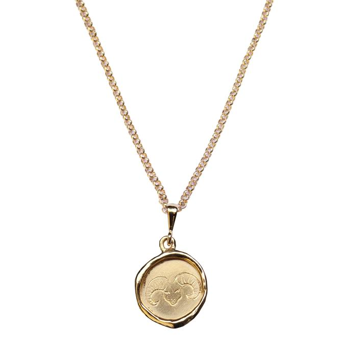 """'Line Saga x HR Zodiac', $420 at [Holly Ryan](https://hollyryan.com.au/collections/necklaces-1/products/your-sign-line-saga-x-hr-zodiac-gold-plated-sterling-silver