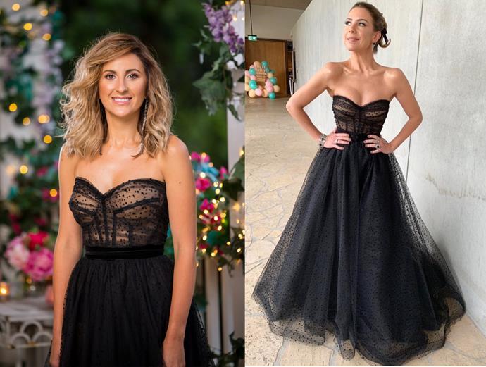 "Irena wears a custom dress by Velani, seen [here](https://www.instagram.com/p/B30GduPp2NA/ target=""_blank"" rel=""nofollow""), in episode one of *The Bachelor* Australia."