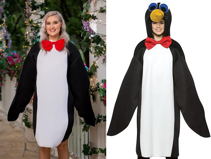 """Rosemary wears a penguin costume from [CostumeBox](https://www.costumebox.com.au/collections/birds target=""""_blank"""" rel=""""nofollow""""), in episode one of *The Bachelor* Australia. (We *did* say every dress...)"""