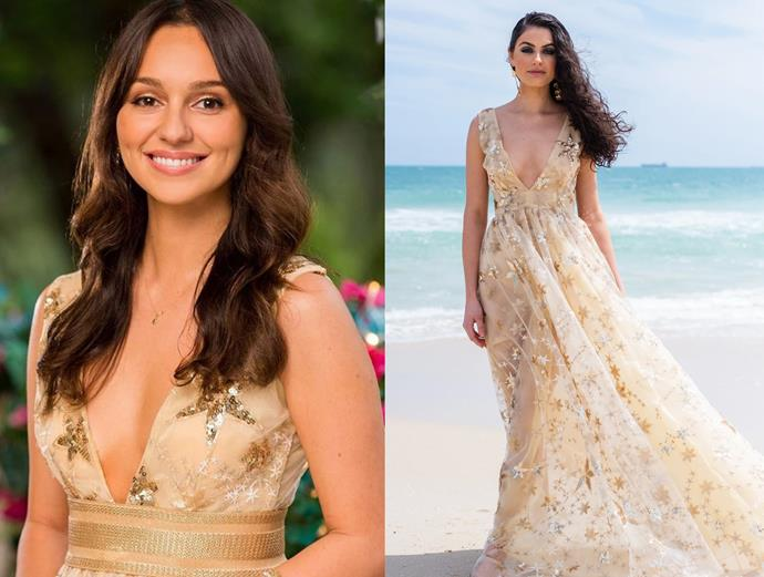 """Bella wears the 'Goldie Gown,' $890 by [Reign the Label](https://reignthelabel.com/collections/reign/products/goldie-gown target=""""_blank"""" rel=""""nofollow""""), in episode one of *The Bachelor* Australia."""