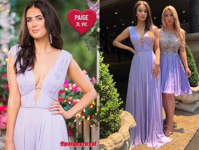 """Paige wears a lavender gown by Matija Vuica, seen [here](https://www.instagram.com/p/B5rB3FhBWnr/ target=""""_blank"""" rel=""""nofollow""""), in episode one of *The Bachelor* Australia."""