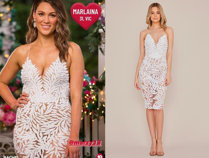 """Marlaina wears the 'Talia' dress, $630 AUD by [Nadine Merabi](https://www.nadinemerabi.com/collections/shopmerabi/products/talia-white target=""""_blank"""" rel=""""nofollow""""), in episode one of *The Bachelor* Australia."""