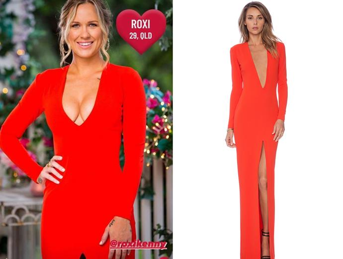 """Roxi wears the 'Gali' dress by Solace London, $357 at [Revolve](https://www.revolveclothing.com.au/r/DisplayProduct.jsp?aliasURL=solace-london-gali-maxi-dress/dp/SOLA-WD39&product=SOLA-WD39 target=""""_blank"""" rel=""""nofollow""""), in episode one of *The Bachelor* Australia."""