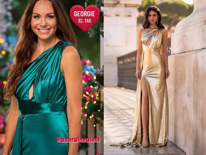"""Georgie wears the 'Aryanna' dress in emerald, $550 by [Alamour The Label](https://www.alamourthelabel.com/products/aryanna-gold?_pos=20&_sid=bf6cadf29&_ss=r target=""""_blank"""" rel=""""nofollow""""), in episode one of *The Bachelor* Australia."""