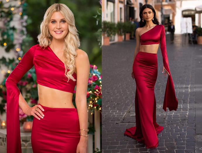 """Steph wears the 'Miya' set, $450 by [Alamour The Label](https://www.alamourthelabel.com/collections/all-products/products/miya-red target=""""_blank"""" rel=""""nofollow""""), in episode one of *The Bachelor* Australia."""