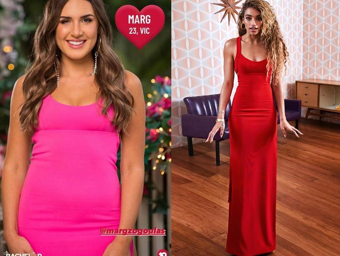 """Marg wears the 'La Ti Da' dress in 'pink Barbie doll,' $599 by [Gemeli Power](https://www.gemelipower.com/collections/new-collection-from-gpsl/products/la-ti-da target=""""_blank"""" rel=""""nofollow""""), in episode one of *The Bachelor* Australia."""