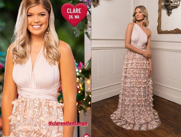 """Clare wears the 'Stephanie' gown in shell, $790 by [Nicol Angela](https://www.nicolangela.com/stephanie-gown-2/ target=""""_blank"""" rel=""""nofollow""""), in episode one of *The Bachelor* Australia."""