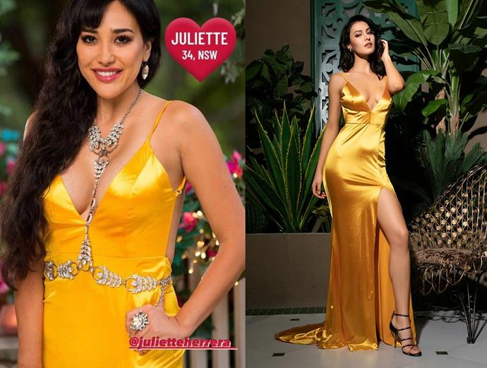 """Juliette wears the 'Envy' gown in gold, $279 by [Micaah](https://www.micaah.com.au/collections/formal-dresses/products/envy-satin-gown-gold target=""""_blank"""" rel=""""nofollow""""), in episode one of *The Bachelor* Australia."""