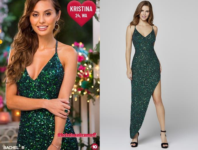 """Kristina wears the 'Maddie' dress, $295 by [Duchess Boutique](https://duchessboutique.com.au/melody-clone.html target=""""_blank"""" rel=""""nofollow""""), in episode one of *The Bachelor* Australia."""