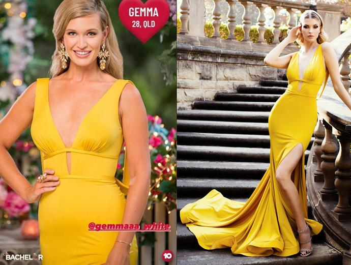 "Gemma wears the 'Este' dress, $790 by [Duchess Boutique](https://duchessboutique.com.au/esta-duchessboutique.html target=""_blank"" rel=""nofollow""), in episode one of *The Bachelor* Australia."