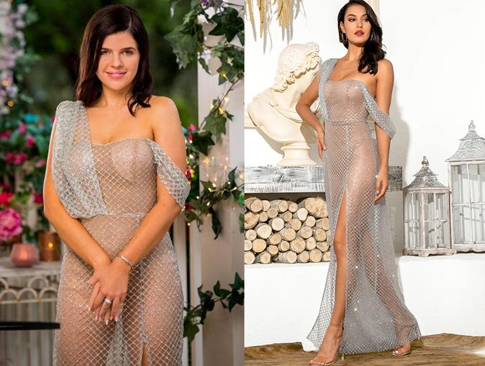 """Laura wears the 'Lyla' dress, $299 by [Micaah](https://www.micaah.com.au/collections/formal-dresses/products/lyla-glitter-gown-silver target=""""_blank"""" rel=""""nofollow""""), in episode one of *The Bachelor* Australia."""
