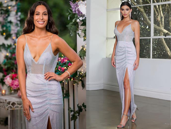 """Leilani wears the 'JX4011' dress, POA by [J'Adore](http://www.jadore.com.au/productinfo/477442.html target=""""_blank"""" rel=""""nofollow""""), in episode one of *The Bachelor* Australia."""