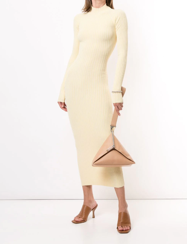 """Ribbed twisted back dress by Dion Lee, $690 at [Farfetch](https://fave.co/3iG97m3