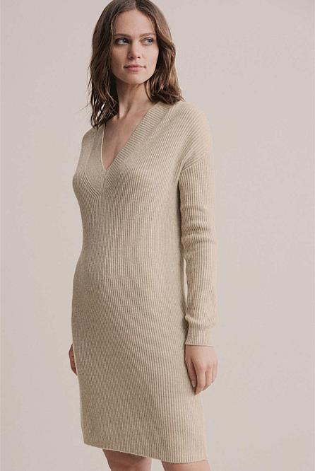 """V Neck sweater dress by Witchery, $79.95 at [Witchery](https://fave.co/3arXJYf