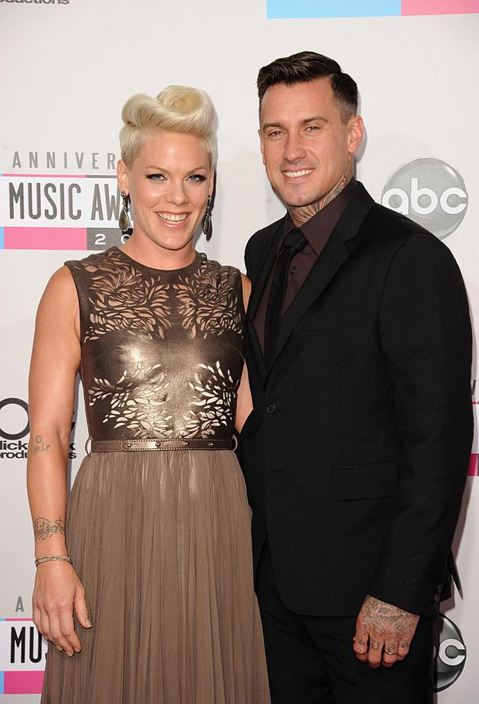 """**P!nk and Carey Hart** <br><br> The couple have been together for a long time and have always been remarkably open about experiencing ups and downs in their relationship, with the singer even including Hart in her video clips for songs *about* their marriage.  <br><br> In an interview with Carson Daly she credited therapy for helping to make things work, """"Carey and I have been in couples' counselling almost our entire 17 years that we've been together,"""" she said. <br><br> """"It's the only reason we're still together""""."""