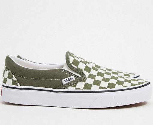 "Slip-On Sneakers In Green and White, $110 by Vans at [ASOS](https://www.asos.com/au/vans/vans-classic-slip-on-checkerboard-sneakers-in-green-white/prd/20780501?channelref=product+search&affid=24792&mk=abc&ppcadref=9995283117%7C99537619343%7Caud-963334471917:pla-337075110626&gclid=CjwKCAjwyo36BRAXEiwA24CwGTExc953xWeFlfg1nAnIk9LvTdzSZG1yVvMAeDqlyf_0_nmHGOeD-RoC-mYQAvD_BwE&gclsrc=aw.ds|target=""_blank""|rel=""nofollow"")."