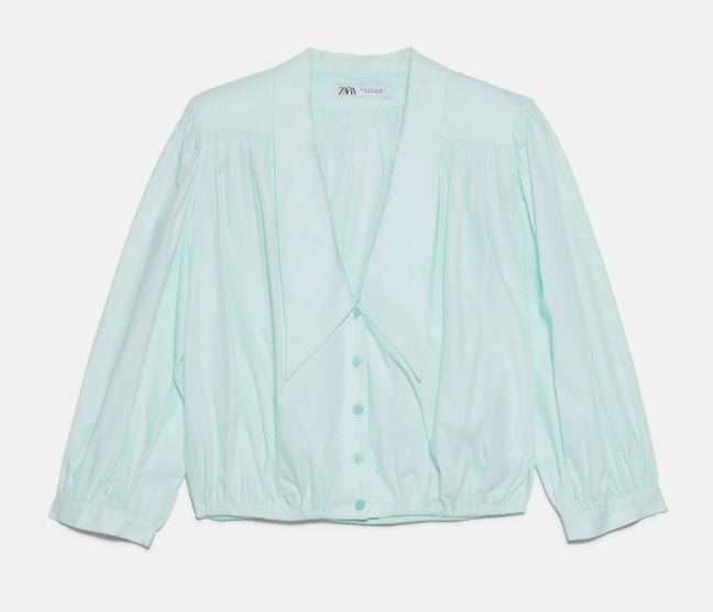 "TRF Gathered Shirt, $59.95 by [Zara](https://www.zara.com/au/en/gathered-shirt-with-shoulder-pads-trf-p06929001.html?v1=67246141&v2=1277472|target=""_blank""