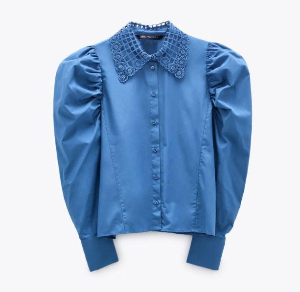 "Shirt With Crochet Collar, $59.95 by [Zara](https://www.zara.com/au/en/shirt-with-crochet-collar-p03564024.html?v1=59130509&v2=1277472|target=""_blank""