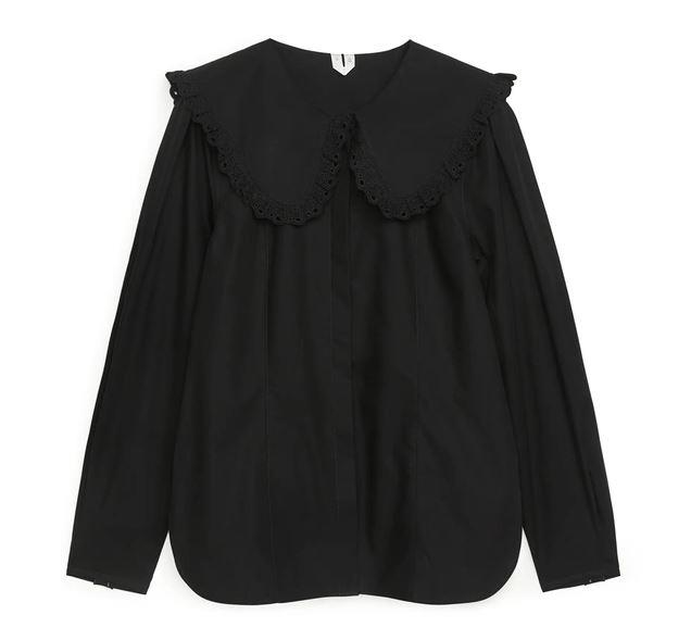 "Wide-Collar Blouse, $110 AUD Approx. by [Arket](https://www.arket.com/en/women/shirts-blouses/product.wide-collar-blouse-black.0933631001.html|target=""_blank""