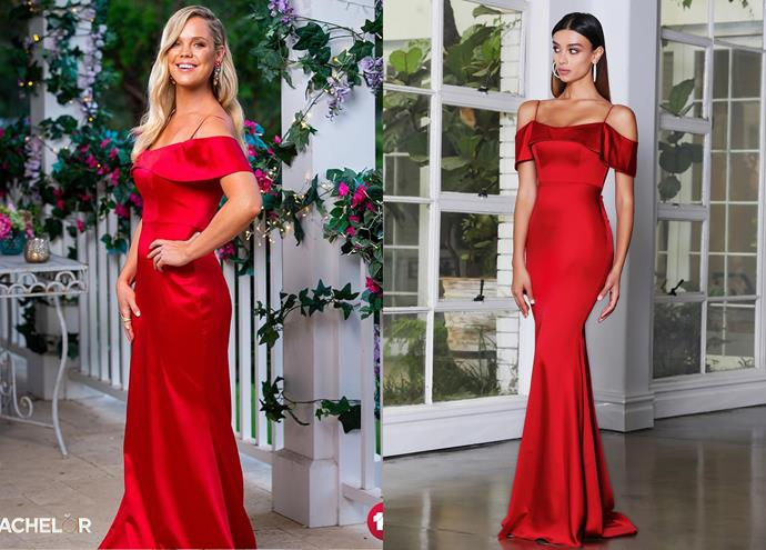 """Bel wears the 'Arabella' gown by J'Adore, $365 at [Windsor and Lux](https://www.windsorandlux.com/products/arabella-gown-by-jadore