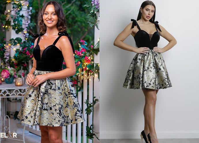 """Bella wears the 'Gold Crush' dress by Marian Rahme, $399 at [Catwalk In Style](https://catwalkinstyle.com.au/products/gold-crush-mini-black-gold?_pos=1&_sid=363eee06d&_ss=r